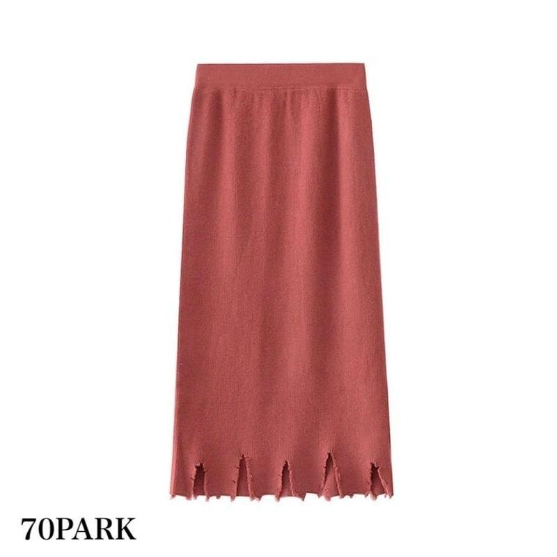 # 裾ダメージ リブ ニット ミディ丈 スカート 全3色