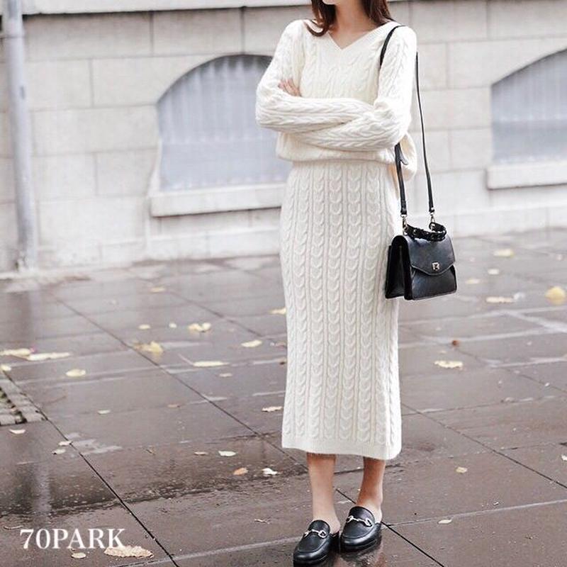 #Cable Knit Skirt Set   Vネックケーブル ニット スカート セットアップ 全4色