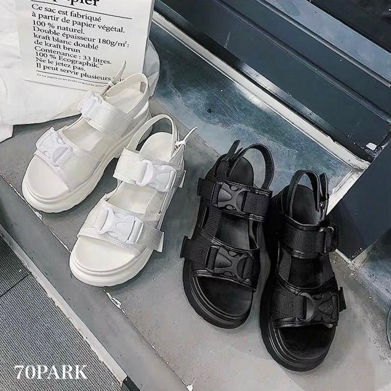 #Sports Platform Sandals ダブルベルト 厚底 スポーツ サンダル 全2色