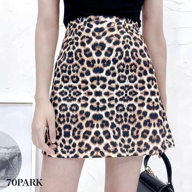 #Leopard Print Pleated Mini Skirt  レオパード柄  プリント ミニ スカート 豹柄