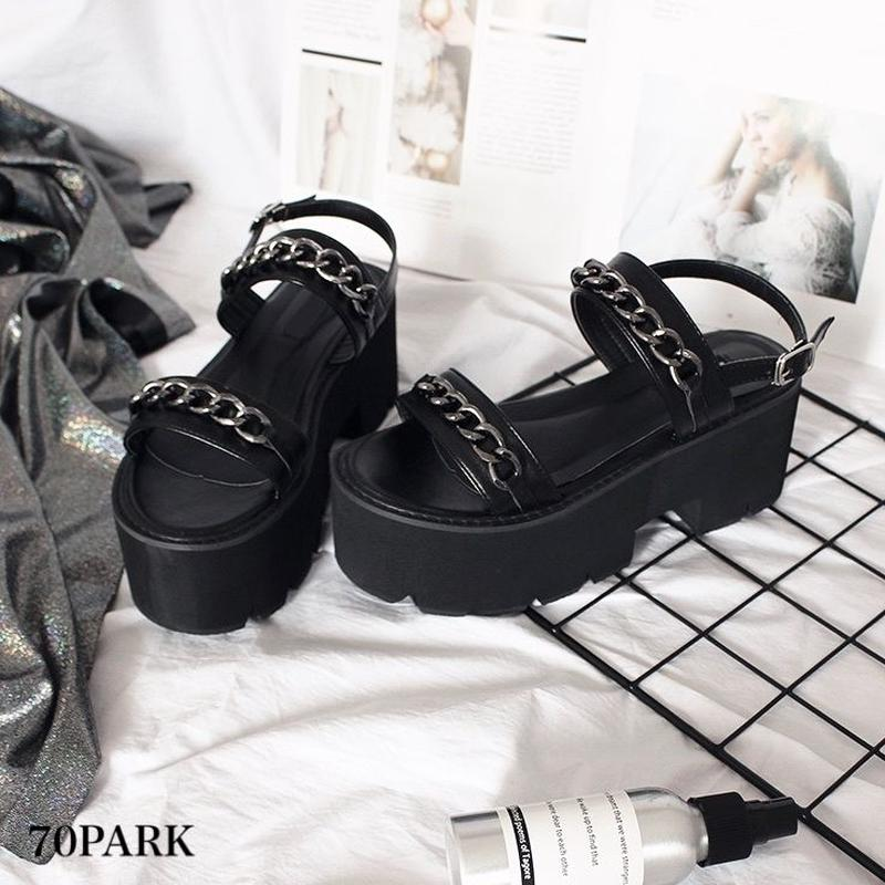 #Chain Platform Sandal チェーン付 ダブル ストラップ シャークソール 厚底 サンダル ブラック
