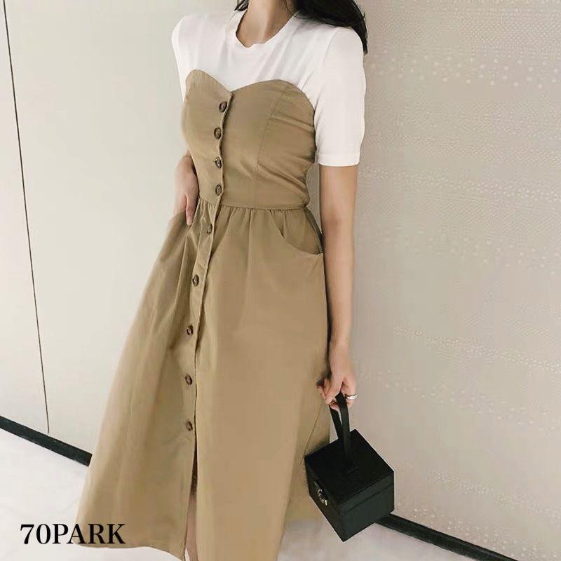 #Tube Flare Dress フロントボタン ベア フレア ワンピース   全2色 リゾート