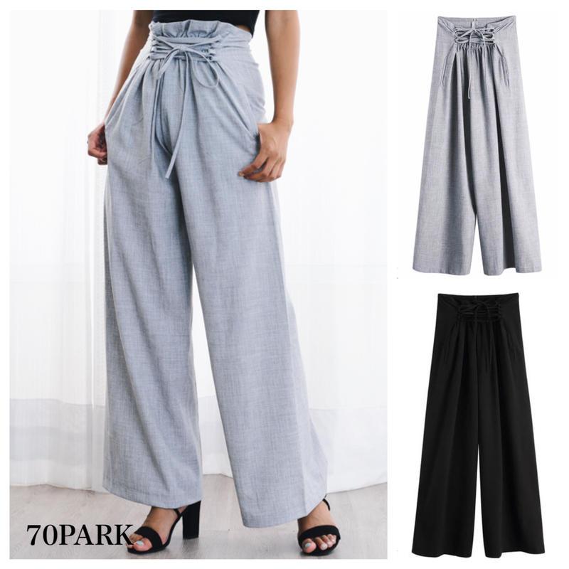 # Lace Up Wide Pants  レースアップ ハイウエスト ワイド パンツ 全2色 ルーズ