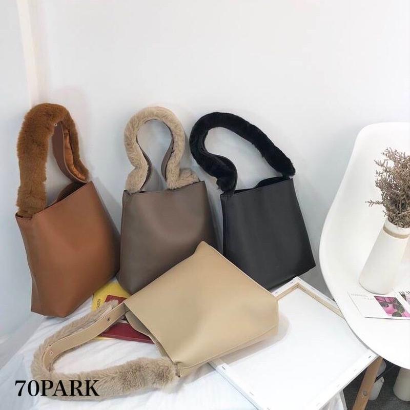 #2way Faux Fur Handle Shoulder Bag  ファーハンドル トートバッグ 全4色