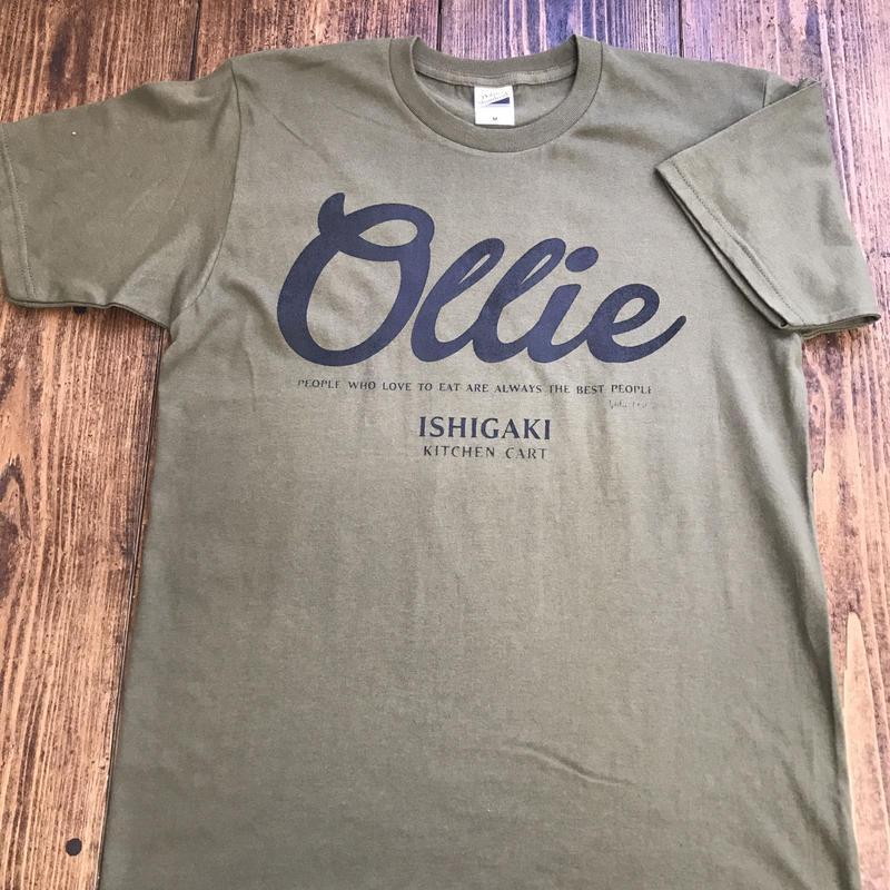 Kitchen Cart Ollie T-shirt (handmade print ver.) オリーブ