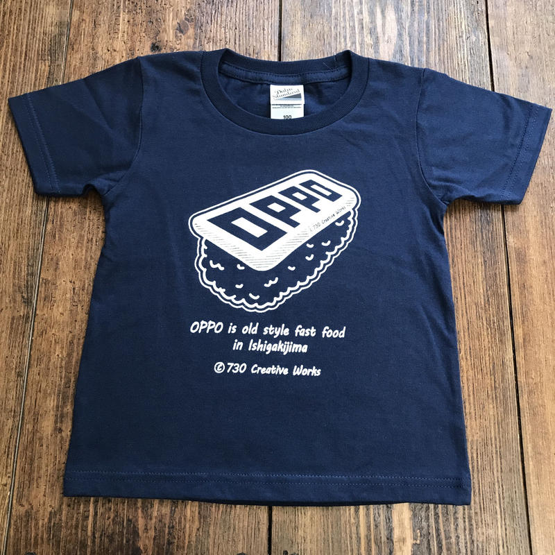 OPPO / KIDS / T-shirt  (navy) *handmade print ver.*