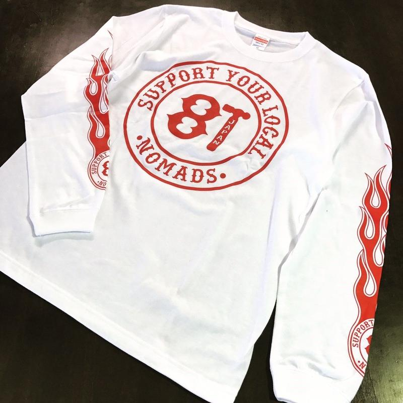 SUPPORT 81 FLAMES L/S Tee - WHITE
