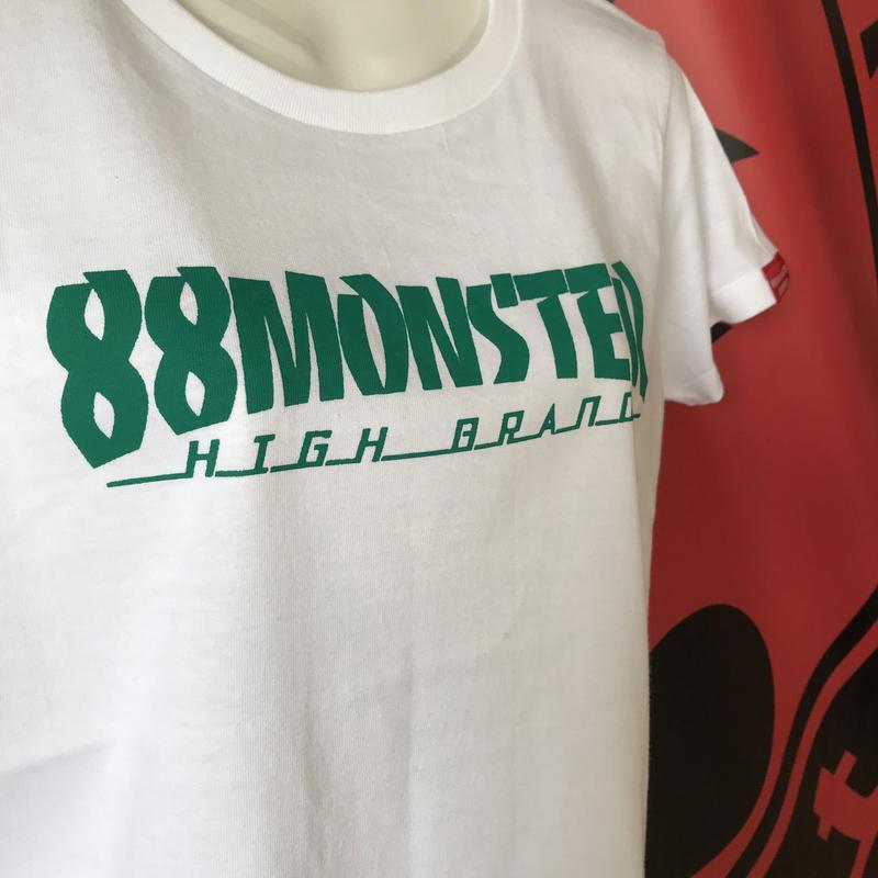 文字ロゴTシャツ 白/緑