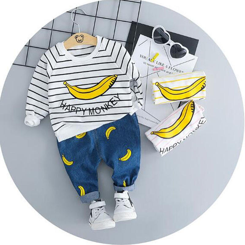 送料無料 banana☆set up長袖トップス+ボトムス