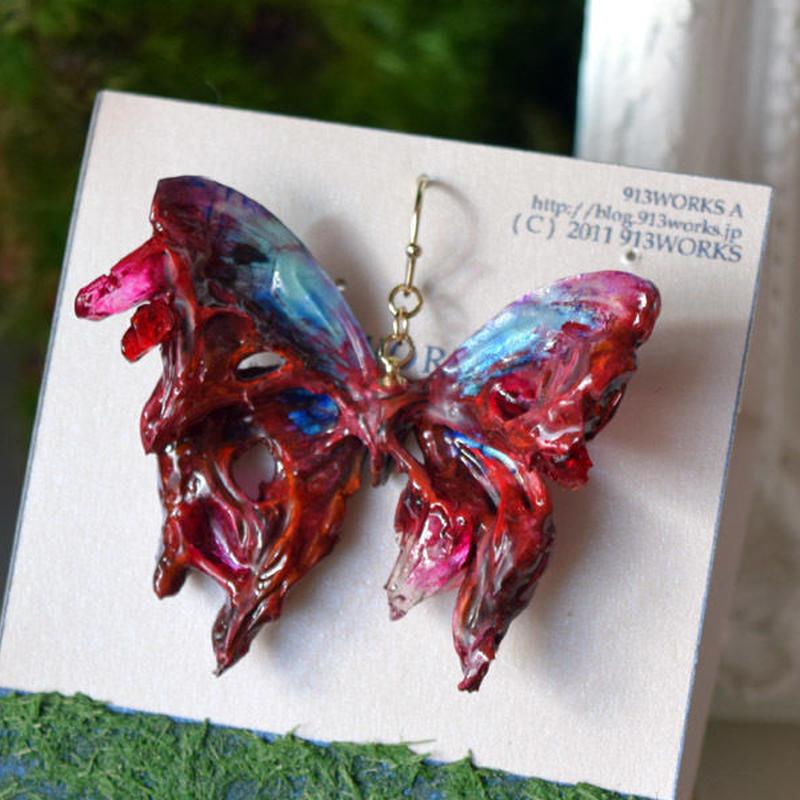 蝶のピアス メネラウスモルフォ ターコイズ死線鉱石 2Ssize(片耳用)②