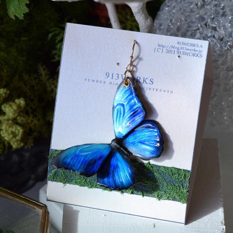 蝶のピアス メネラウスモルフォblue plus.col 2Ssize (片耳用)