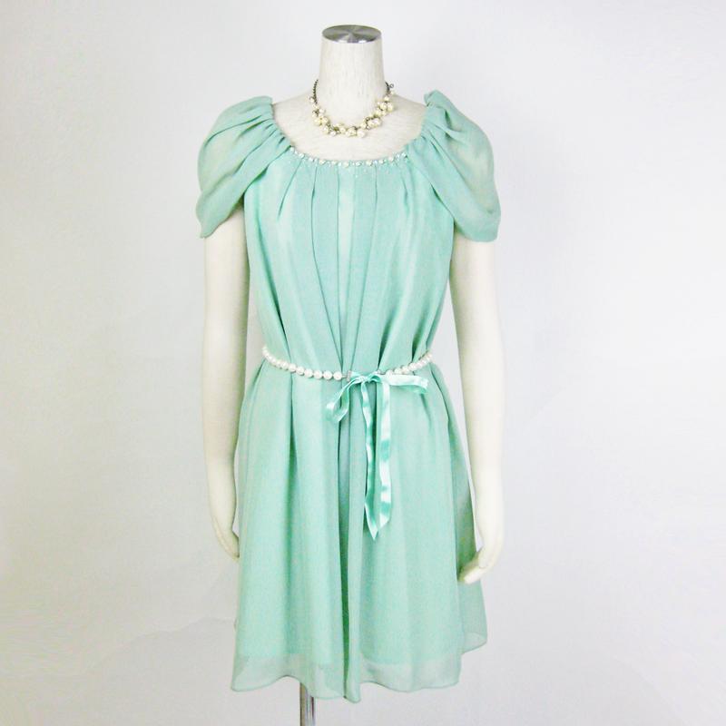 【アウトレット特価】袖取外しパールビーズドレス