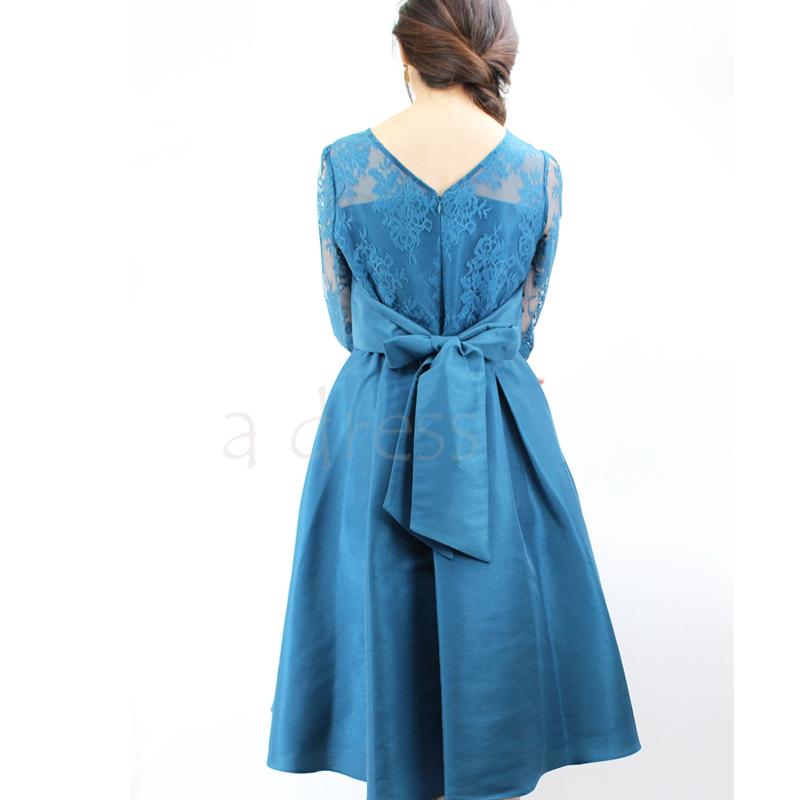 レース×シャンタンテールスカートドレス