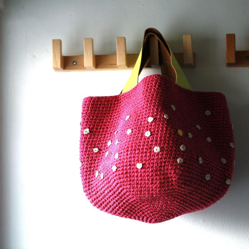 Sale! 濃ピンク×リネンdotのバッグ
