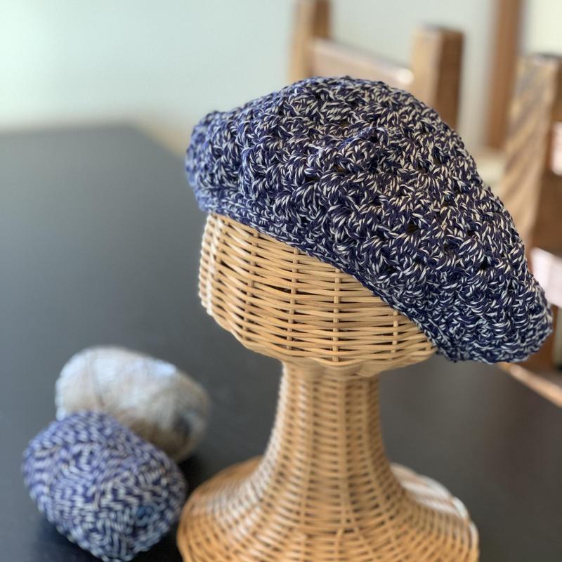 送料込み 3時間で編める透かし模様のベレー帽 -印刷済み編み図のみ