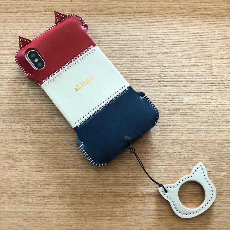 【サンプル1点物】abicaseXSJ/iPhoneX用トリコロール猫ジャケット