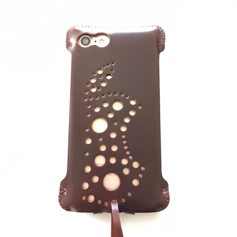 1点物【コードバン製】iPhone8 sj 林檎印 バーガンディ