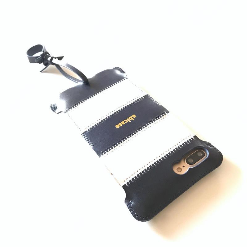 【予約受付】iPhone 7Plus stripe ストライプジャケット/ルガトネイビーブルー☓白