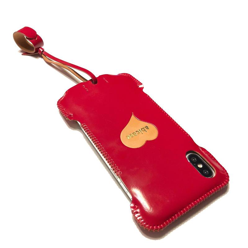【サンプル1点物】iPhoneX用ウォレットジャケット/カーマインレッドコードバン製