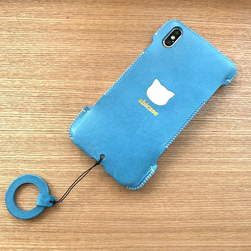 1点物【iPhone XS Max】スカイブルーのウォレットジャケット/猫印