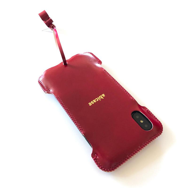 【ワインレッドコードバン】abicaseXWJ/iPhoneX用ウォレットジャケット