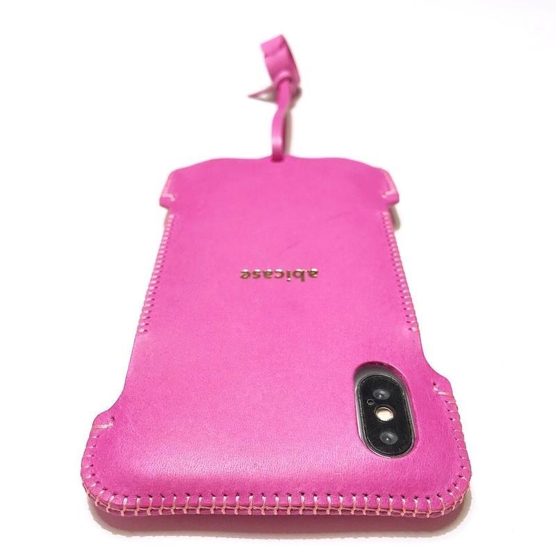 【1点在庫】abicaseXWJ/iPhoneX用ウォレットジャケット/イタリアンピンク