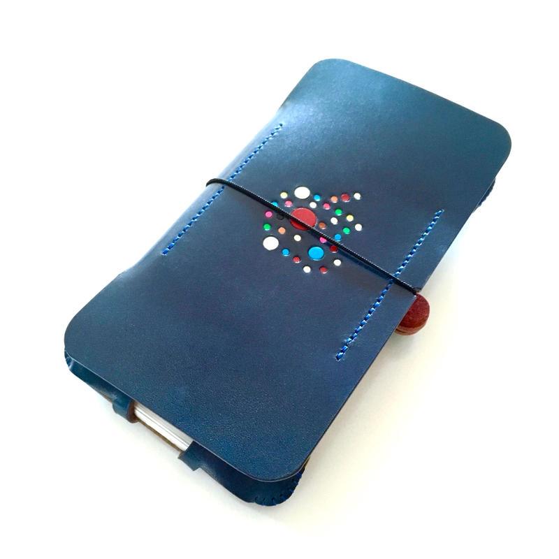 予約受付【abicase flap】 iPhone 6s cwj/デニムブルー林檎ドット