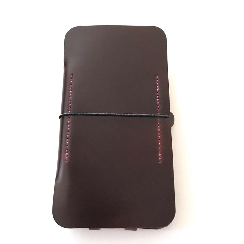 1点限定【コードバン製/abicaseflap】手帳型iPhone8ジャケット  2トーンバーガンディ
