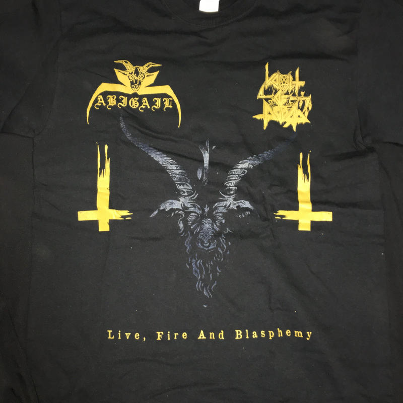 "Abigail ""Live, fire and blasphemy"" Split with Vomit of doom Black T- shirts"