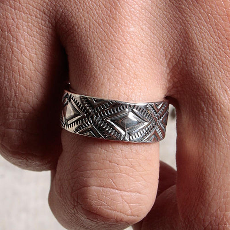 NORTH WORKS 900Silver Stamp Ring Diamond W-052