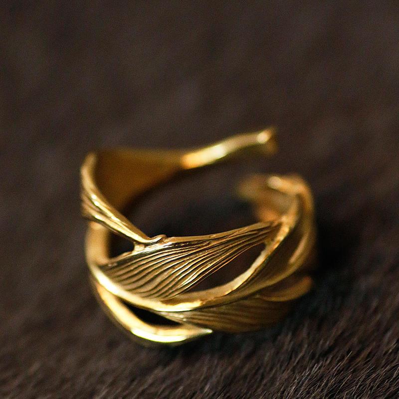 HARIM Owl Feather ring K18coating HRR015 G