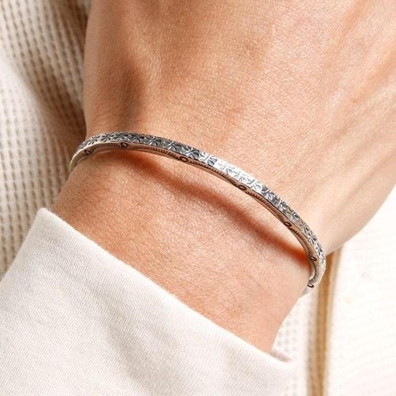 NORTH WORKS Stamped 900Silver super narrow Cuff Bracelet 2 W-013