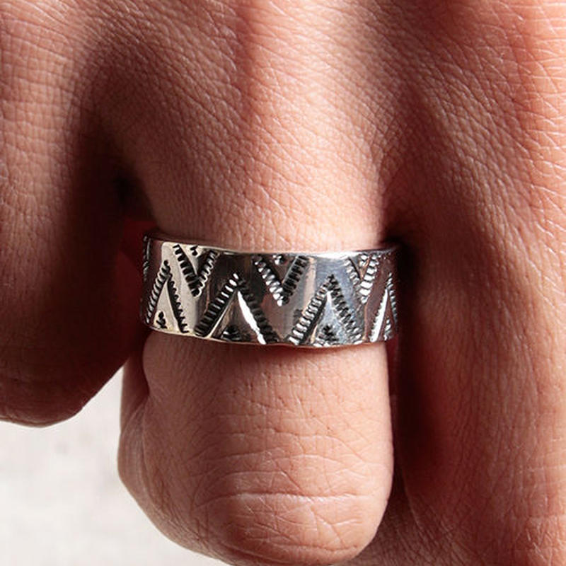 NORTH WORKS 900Silver Stamp Ring TRIANGLE WAVE W-050