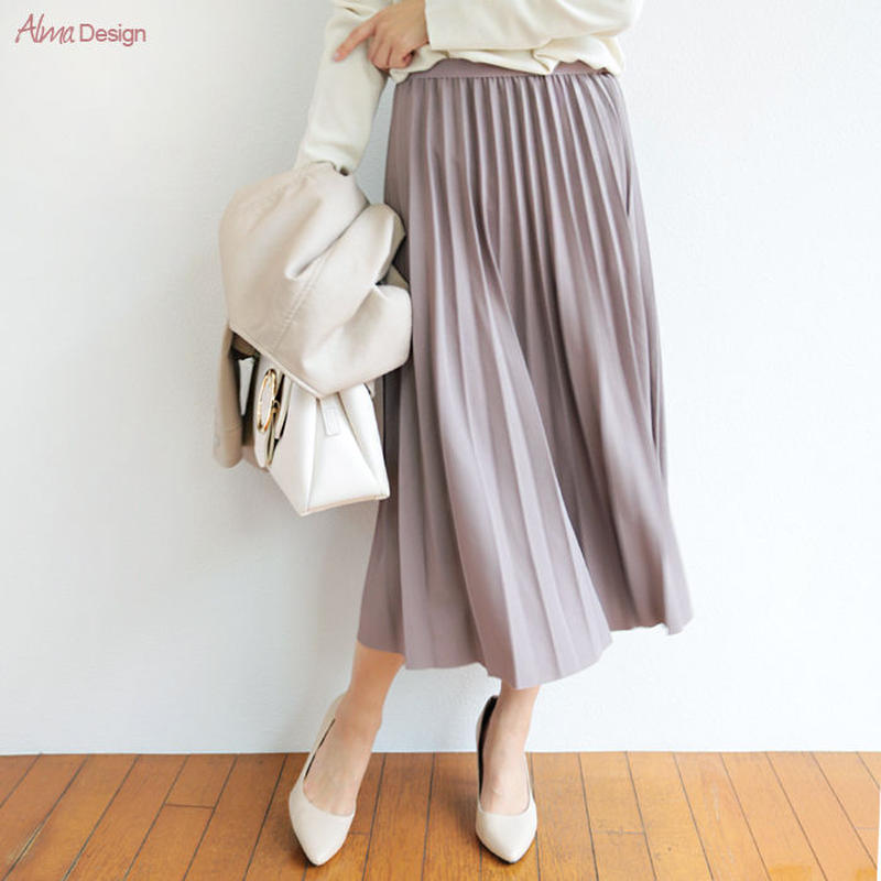 スカート プリーツスカート 光沢 ミモレ丈 ロング レディース6001141