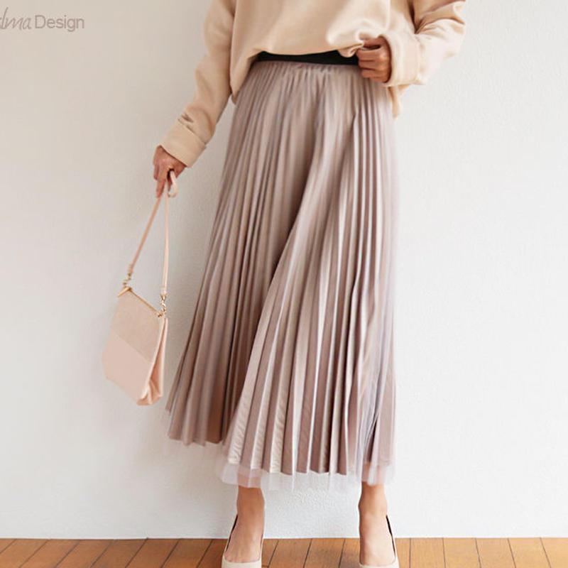 スカート プリーツスカート サテン チュール ロング レディース6001140