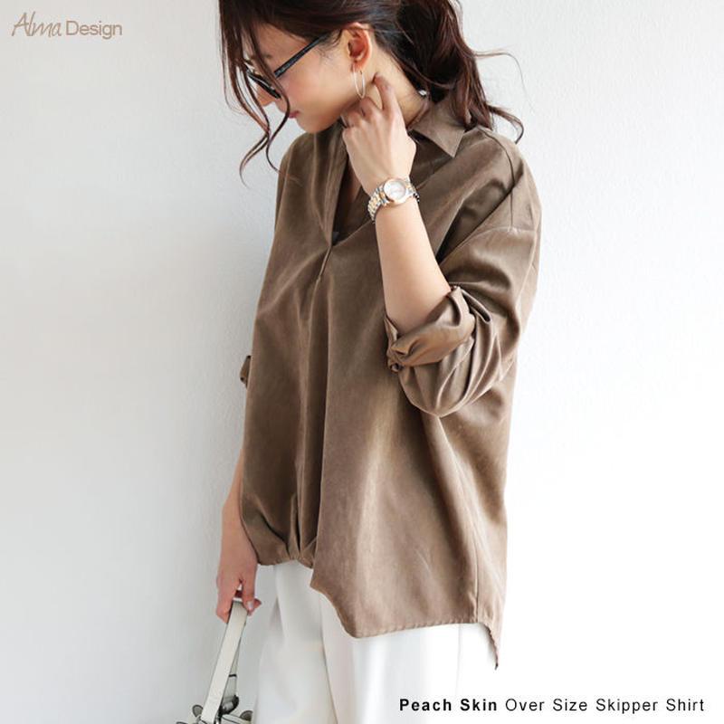 ピーチスキン スエード調 オーバーサイズ スキッパー ブラウス Vネック シャツ6001065