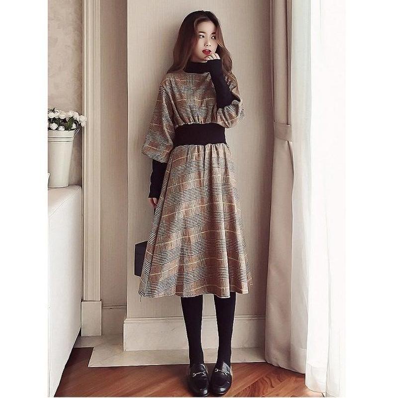 チェック ワンピース グレンチェックワンピース ギンガムチェックワンピース 韓国ファッション P30018