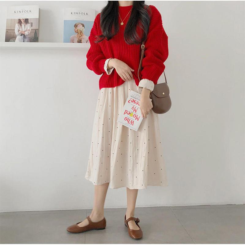 ワンピース×ニット ひざ丈 シャツワンピ レディース ドット柄 スカート セーター 韓国 ファッション T30083
