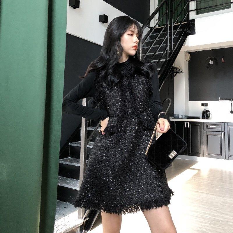 ツイードフリンジベストxワンピース ツーピース ブラック 結婚式や二次会にも 韓国 ファッション T3083