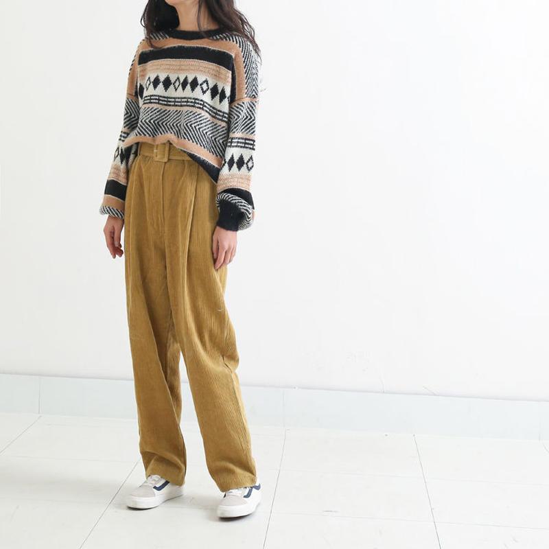 コーディロイハイウエストベルトつきワイドストレートパンツ セット オルチャン 韓国 ファッション B3017
