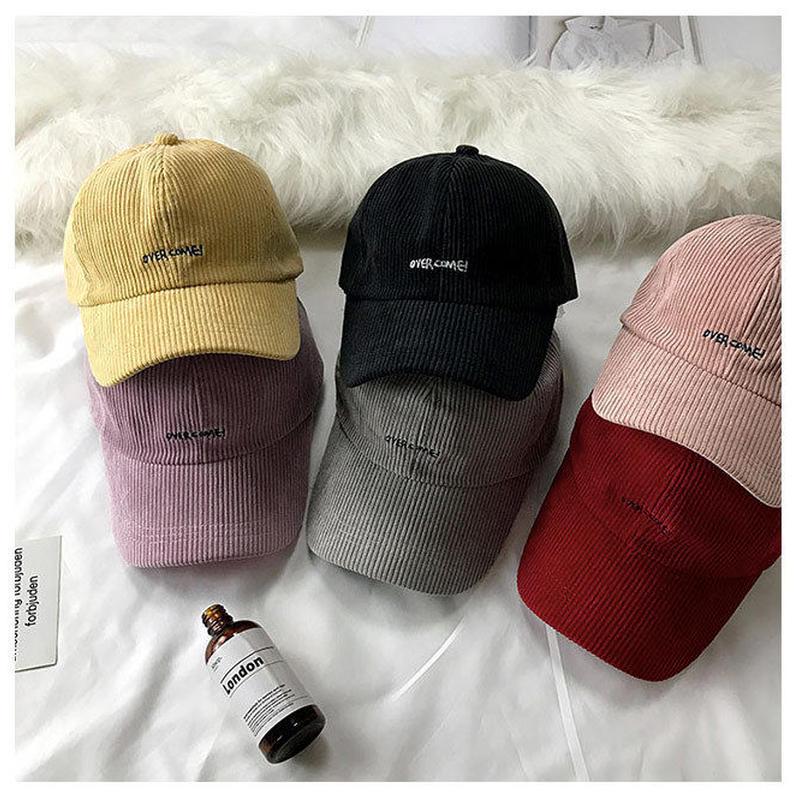 コーデュロイシンプルロゴ入りキャップ 帽子 刺繍 ベイクドカラー オルチャン 韓国 ファッション X3007