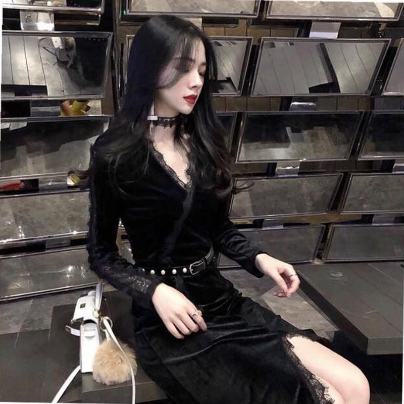 Vネックセクシーレースのベルベッドエレガントミッドスカートドレス 韓国 ファッション D4002