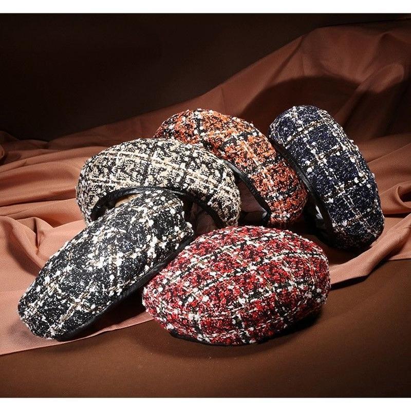 ツイードベレー帽 帽子 カラー オルチャン 大人かわいい キャスケット 韓国 ファッション X3013