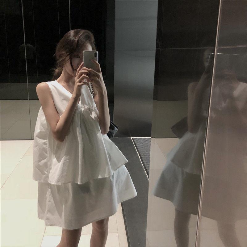 シンプルノースリーブフリルAラインワンピース/チュニック モノトーン オルチャン 韓国 ファッション W3011