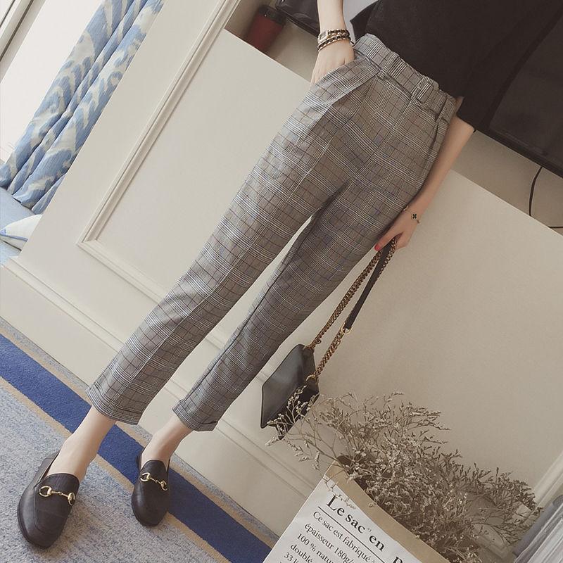 グレンチェック柄ベルトつきテーパードパンツ ストレート オルチャン ハイウエスト 韓国 ファッション B3015