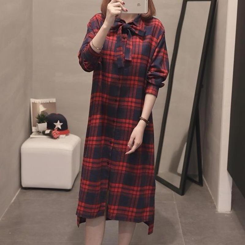 秋新作 ワンピース ブロックチェック ひざ丈 シャツワンピ レディース ロング トップス 韓国 ファッション T30078