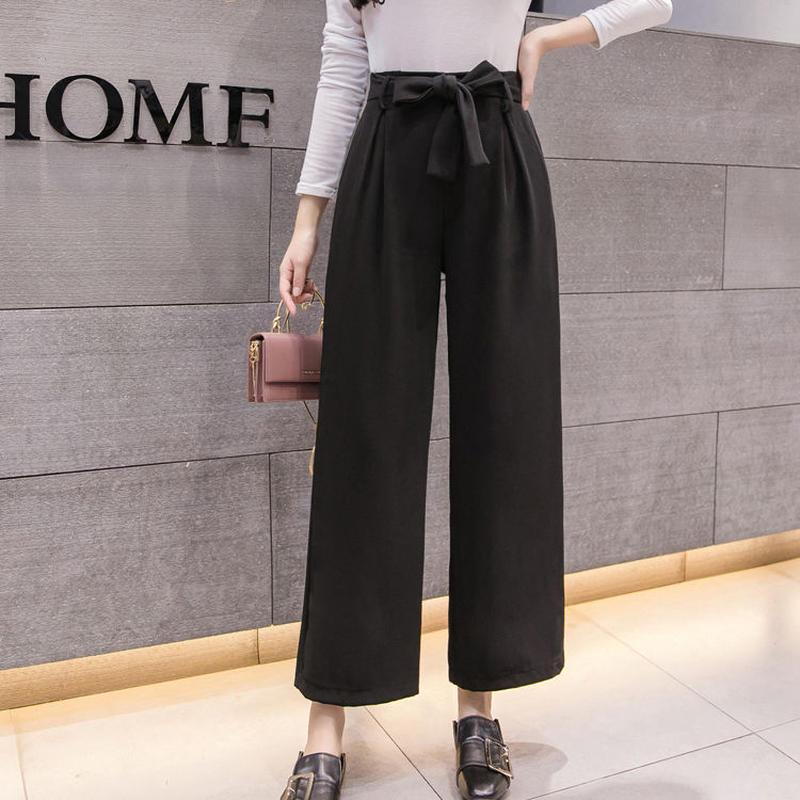 ワイドパンツ 大きいサイズ レディース ハイウエスト ウエストリボン ストレートパンツ 韓国ファッション P39020