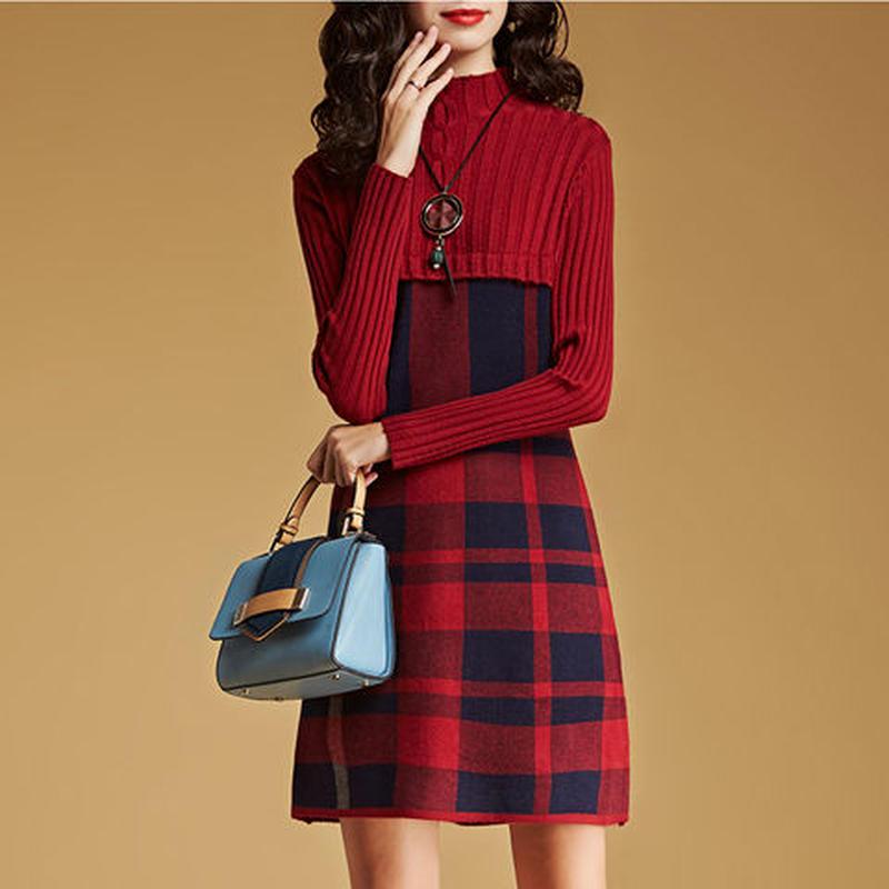 チェック柄切り替えワンピース ニットチェックワンピース 韓国ファッション P30021