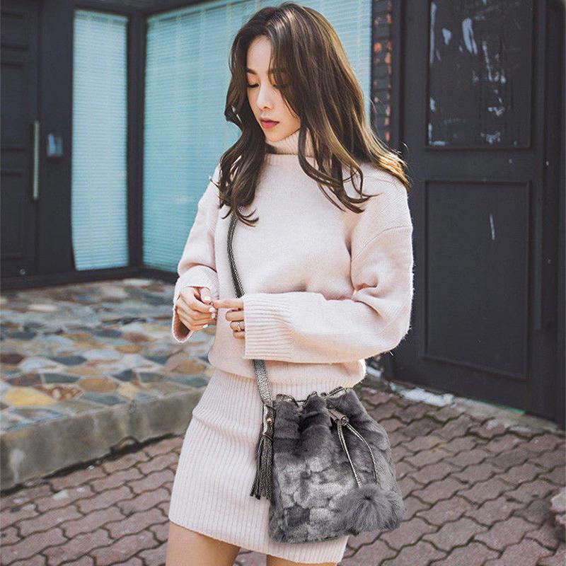 【お取り寄せ】ふわふわファー巾着レディースショルダーバッグ 韓国 ファッション X4003