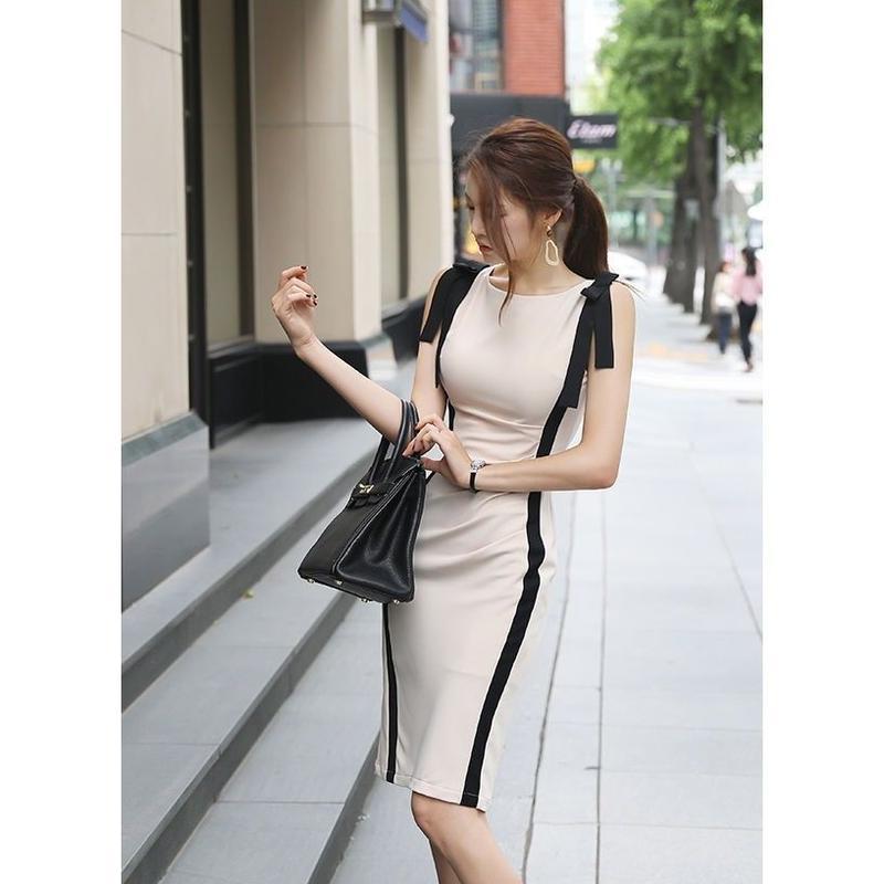 サイドリボンノースリーブワンピース 肩リボンドレス オルチャン ストライプ  オルチャン 韓国 ファッション W3005